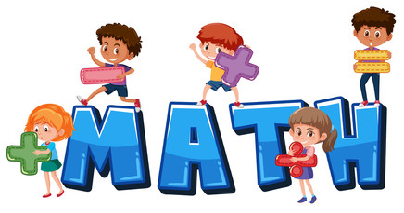 children holding math symbols