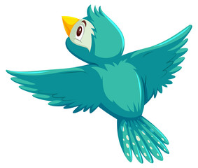 A cute bird flying on white background