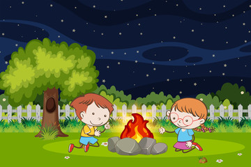 Boy and girl at campfire