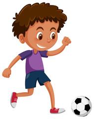 An African boy playing football