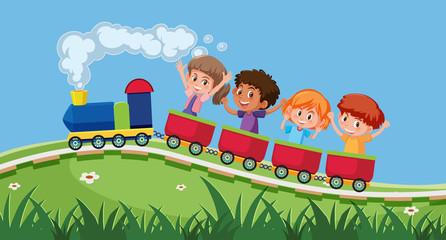 Children taking the train