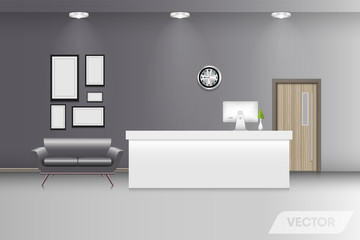 Reception lobby and interior decorative, Vector design