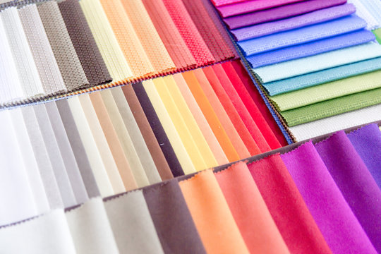 Rolls of fabric and textiles in a shop or store