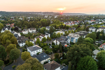 Aerial drone view of streets in Bonn bad godesberg the former capital of Germany with typical german house neighbourhood
