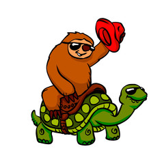 Cowboy sloth on the turtle