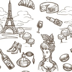 France Paris vector sketch seamless pattern