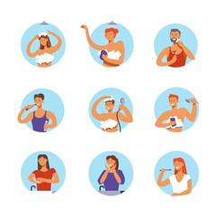 People hygiene procedures vector cartoon icons
