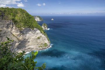 Obraz Dramatic Paluang cliff above beautiful blue waters near Kelingking Beach in Nusa Penida. - fototapety do salonu