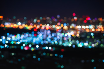 Abstract of bokeh city lights at night scene.