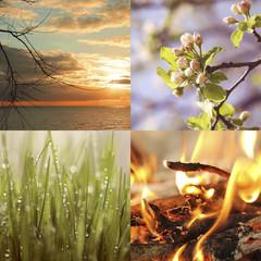 небо огонь море и трава на одной фотографии