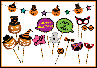 Halloween festival design props set for photo booth on party.