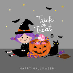 Trick or treat with cute witch and black cat. Halloween pumpkin cartoon character. Calligraphy hand written.