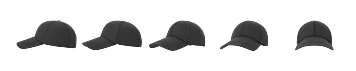 3d rendering of five black baseball caps shown in one line from side to front view on a white background.