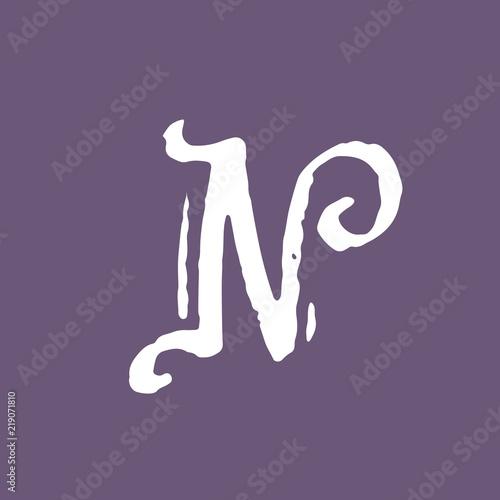 Letter N Vintage Grunge Font Gothic Style Letter Vector