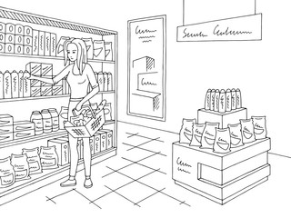 Grocery store shop interior black white graphic sketch illustration vector. Woman buying products