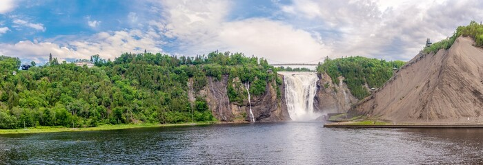 Panoramic view at the Montmorency falls at a distance of Quebec in Canada
