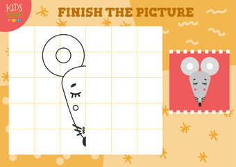 Copy picture vector illustration. Complete and coloring game