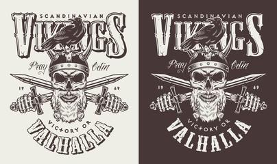 T-shirt print with viking head