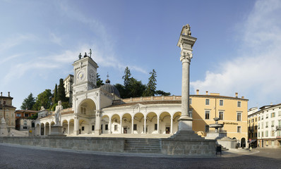 Panoramic view of Piazza Libertà in the historic center of Udine, Italy