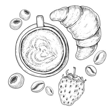 Hand drawn breakfast, etching sketch of croissant, cappuccino cup of coffee with berries and beans. Vintage food illustration isolated on white background. Vector drawing.