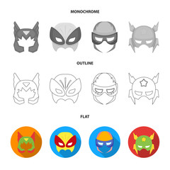 Mask on the head, helmet.Mask super hero set collection icons in flat,outline,monochrome style vector symbol stock illustration web.