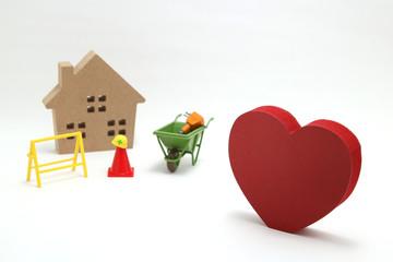 ハート 工事現場 家 安全イメージ