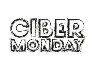 cyber monday message with hand made font vector illustration design