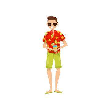 Happy young man in sunglasses and Hawaiian aloha shirt enjoying vacations and drinking cocktail vector Illustration on a white background
