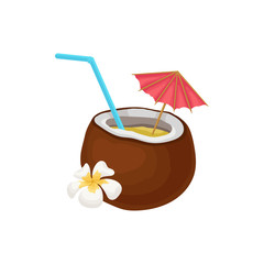 Tropical cocktail in coconut with straw and umbrella vector Illustration on a white background