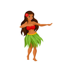 Hawaiian girl in grass skirt dancing and hibiscus flower in her hair vector Illustration on a white background