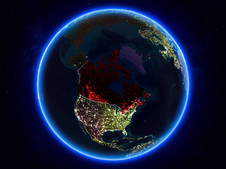 Canada on Earth from space at night