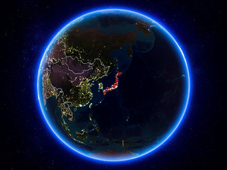 Japan on Earth from space at night