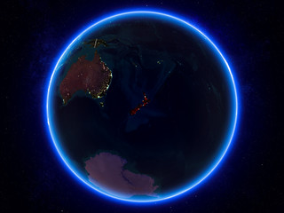 New Zealand on Earth from space at night