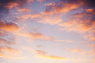 Aluminium Prints Heaven Beautiful bright sunset sky with pink clouds, natural abstract background and texture, heaven, religion