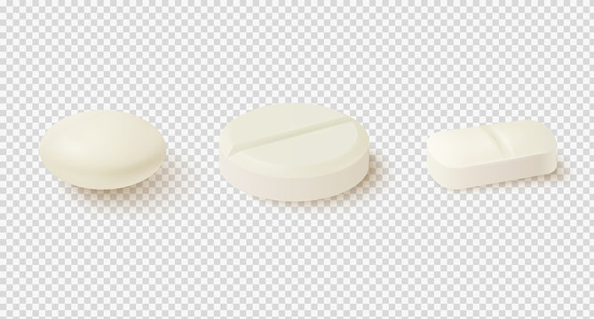 Realistic medical pills. Collection of oval, round and capsule shaped tablets.