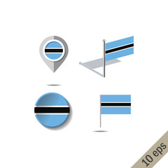 Map pins with flag of BOTSWANA - vector illustration