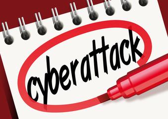 cyberattack, mot, bloc-notes, problème, criminalité, cyber-criminalité, cyber-espace