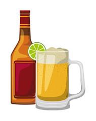 jar beer with bottle drink icon vector illustration design