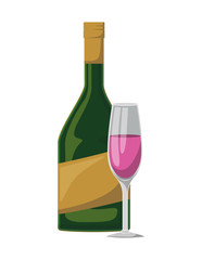 wine cup and bottle icon vector illustration design