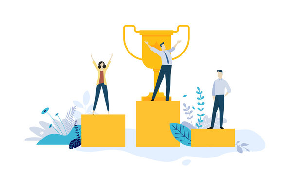 Vector illustration concept of business success, leadership, awards, career, successful projects, goal, winning plan, competition. Creative flat design for web banner, business and marketing material.