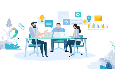 Vector illustration concept of business workflow, time management, planning, task app, teamwork, meeting. Creative flat design for web banner, marketing material, business presentation.