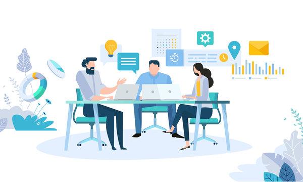 Vector illustration concept of business workflow, time management, planning, task app, teamwork, meeting. Creative flat design for web banner, marketing material, business presentation.