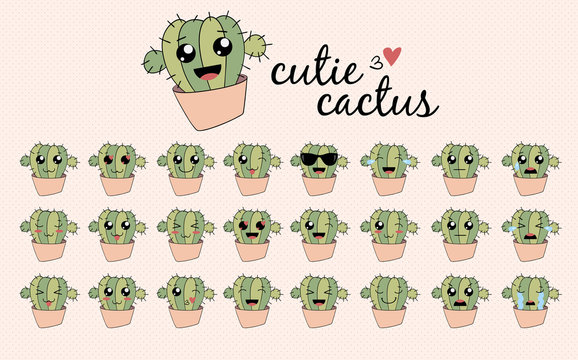 Cute cactus set emoji icon funny character flat vector design