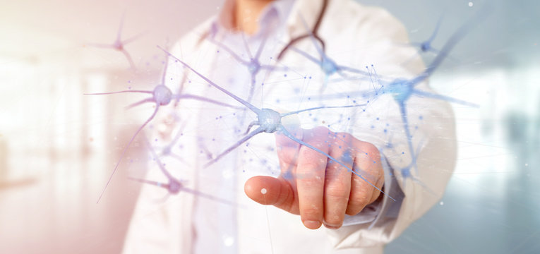 Doctor holding a 3d rendering group of neurons
