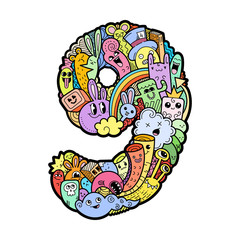 Hand drawn doodled kids numbers. Cute monstred numbers, math symbols.