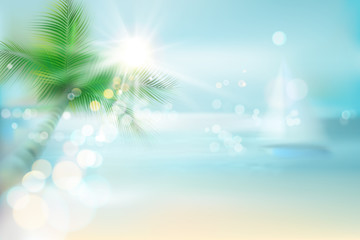 Abstract view of a tropical beach. Vector Illustration.