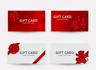 Gift Card Template Collection Set with Bow and Ribbon Vector Illustration
