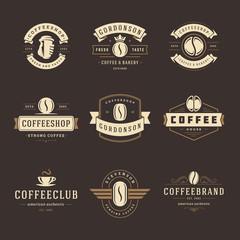 Coffee shop logos design templates set vector illustration.