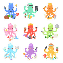 Octopus in business vector illustration octopi character of businessman constructor or housewife doing multiple tasks set of multitasking octopuses doctor and teacher isolated on white background