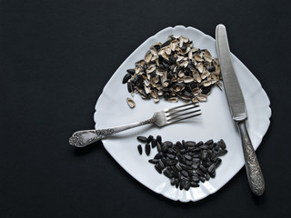On a white plate lie the seeds of a sunflower, the husk from the seeds of a knife and fork on a dark background